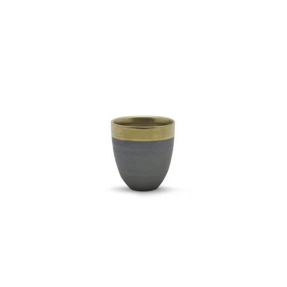 "CUB8604GB Small Dark Ceramic Bowl with Gold Rim - 4.3"" H (32 pcs)"