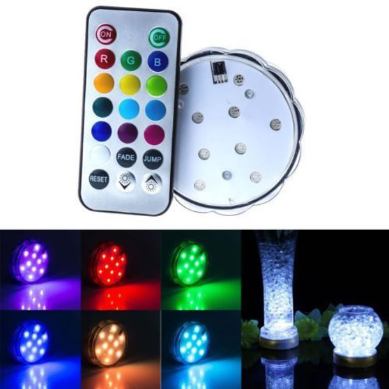 "LED14 - White w/RGB Remote Control LED Light Base - 2.7"" (1 pc)"