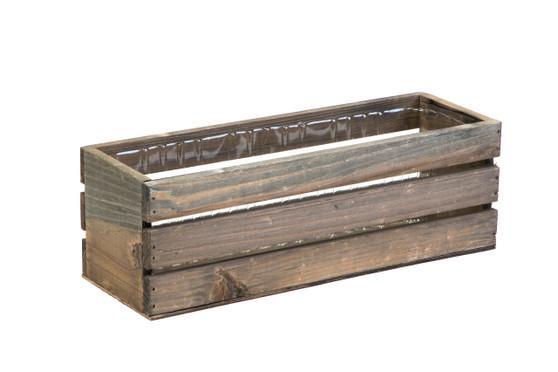 """WBR1244RC - Rustic Wood Wine Crate Long Box - 12"""" (6 pcs)"""
