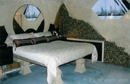 Fairy Tale Master Bedroom Design with Rock Veneer Paneling