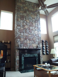 Dramatic Fireplace Transformation with Fieldstone