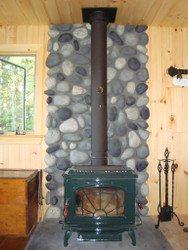 Remodeling a Wood Stove Wall Shield with River Rock