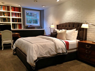 Brand New Bedroom with White Brick