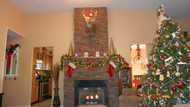 Christmas Fireplace Past and Present with Simulated Stone