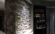 Fireplace Wall Design with Stacked Stone
