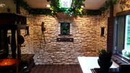 Walkin Shower Design with Stacked Stone Veneer Panels