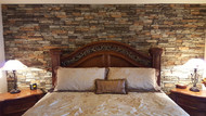 Stunning Bedroom Accent Wall Made with Dry Stack Panels