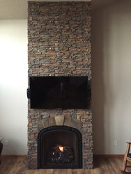 Interior Chimney with a New Stacked Stone Finish
