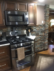 New Kitchen Wall Coverings, Breakfast Bar with Stone Style
