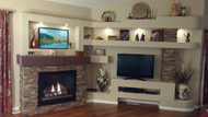 Magnificent DIY Media Center and Fireplace