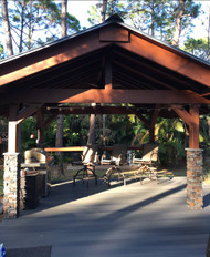 Backyard Pavilion Design with 'Stacked Stone' Columns