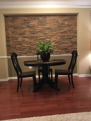 Dining Room Accent Wall, Stacked Stone Style