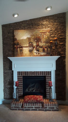 Fireplace Backdrop with Stacked Stone Style