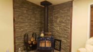 Creating a Stacked Stone Wall Behind a Wood Stove
