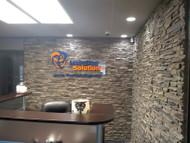 Office Makeover with Stacked Stone Panels