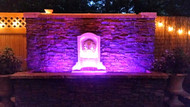 Outdoor Water Wall with LED Lights Up the Night