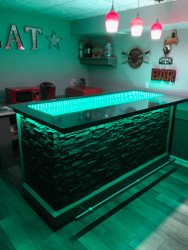 DIY Home Bar with Infinity Mirror Top