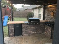 Outdoor Patio Kitchen with DIY Stone Style