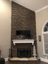 Replace a Brick Fireplace with Stacked Stone Elegance