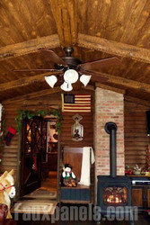 Rustic Ceiling Panel and Faux Wood Beam Combo