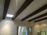 Stained and Installed: Do It Yourself Ceiling Beams