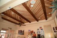 Accenting a Plank Ceiling with Beams