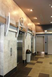 Commercial Lobby Design with Custom Beachwood Beams
