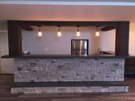 Incredible Basement Bar Design with Beams