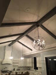 Hanging Chandeliers on Kitchen Beams
