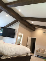 Master Bedroom Makeover with Driftwood Beams