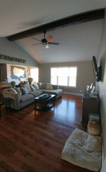 Family Room Makeover with One Ceiling Beam