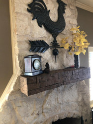 Farmhouse Style Fireplace with Rough Hewn Mantel