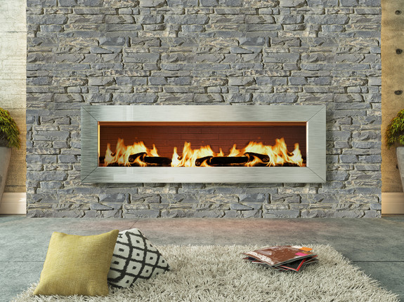 Fireplace paneled with our Montana Dry Stack Stone Wall panels in the everscape color.
