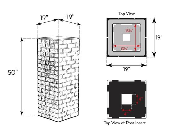 Carlton Traditional Brick Column Sleeve - Wide