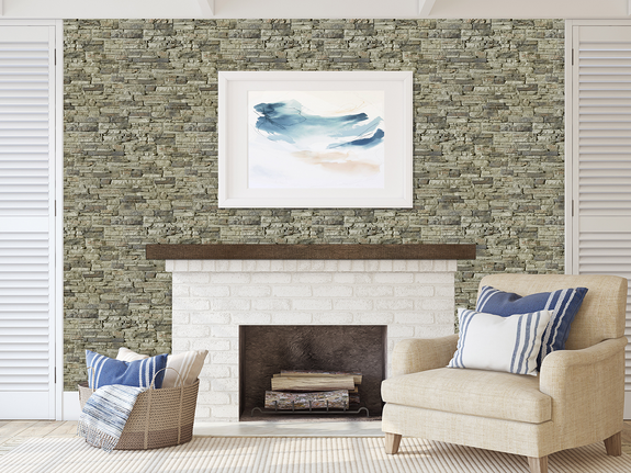 This fireplace wall is paneled with our Colorado Dry Stack Stone panels  in the birchwood color.