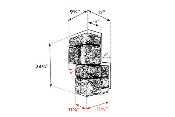 Regal Chiseled Stone Outside Corner - Interlocking