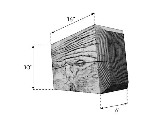 Coarse Sawn Faux Wood Corbel - 6x10x16 - Chamfered