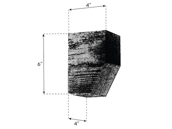 "Coarse Sawn Faux Wood Corbel - 4""x6""x4"" - Slant"