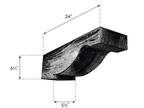 "Coarse Sawn Faux Wood Corbel - 5.5""x6.5""x24"" - Scroll"