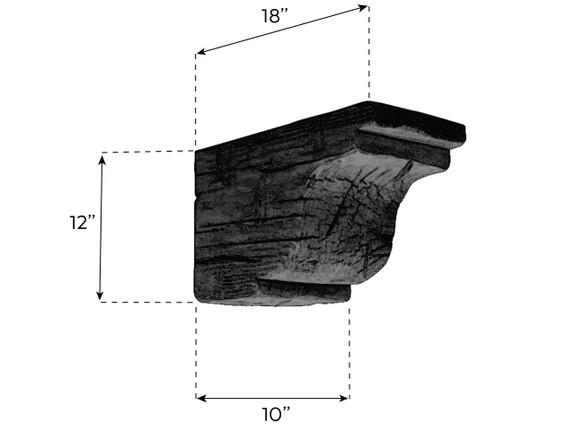 "Hand Hewn Faux Wood Corbel - 10""x12""x18"" - Crown"