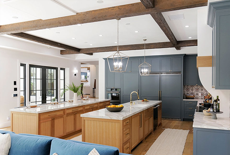 Faux wood ceiling beams in a finished kitchen design ideas