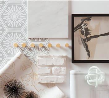 Designer inspiration board with white brick