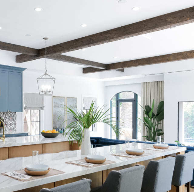 Mobile-Kitchen Design with faux wood ceiling beams