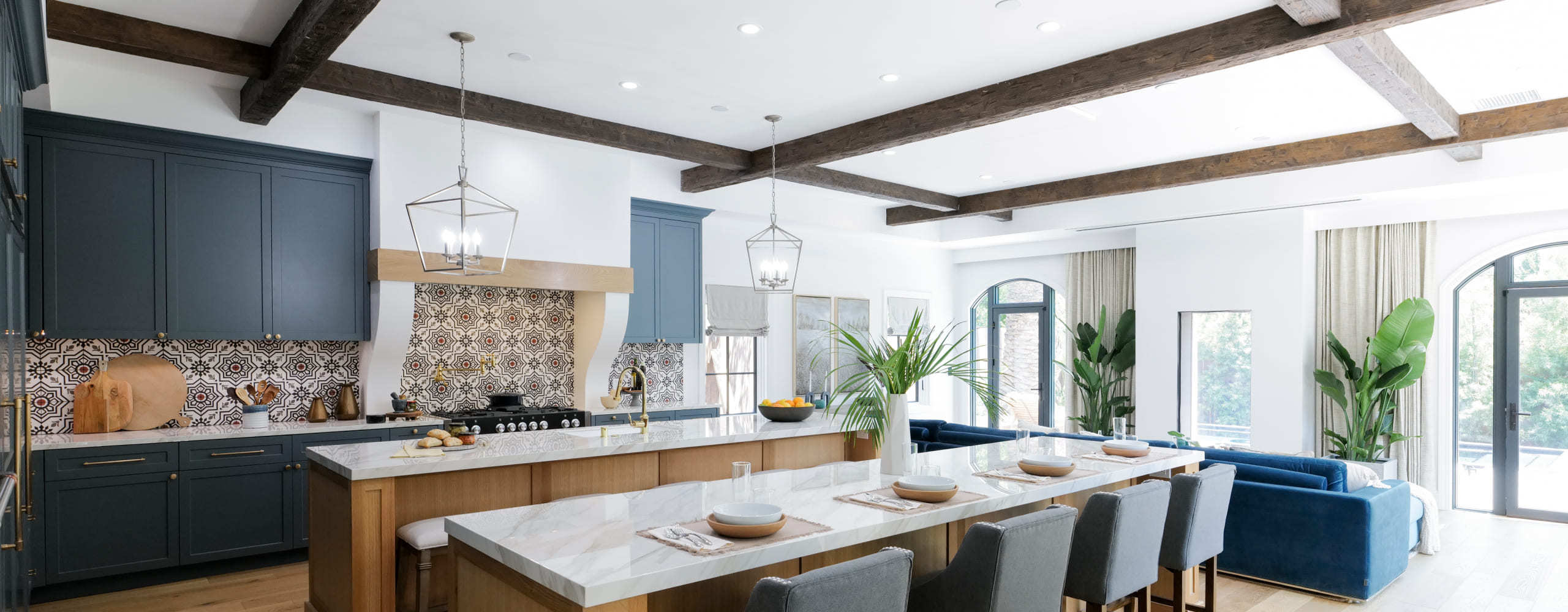 Desktop-Kitchen Design with faux wood ceiling beams