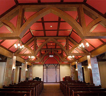 Faux Wood Truss with faux beams in a church