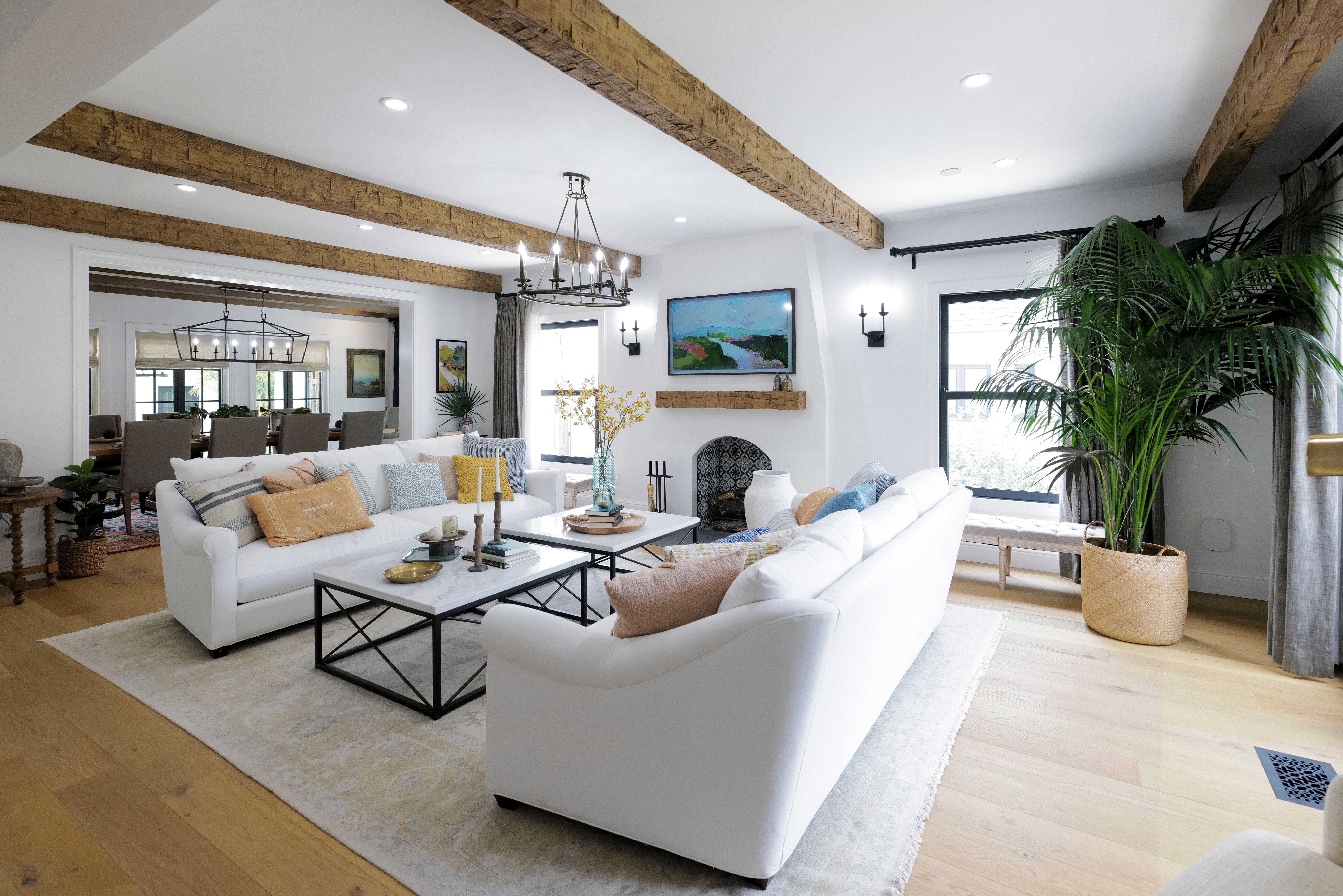 Barron Designs faux brick panel in living room design ideas