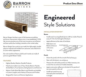 Product data sheet for beams and panels