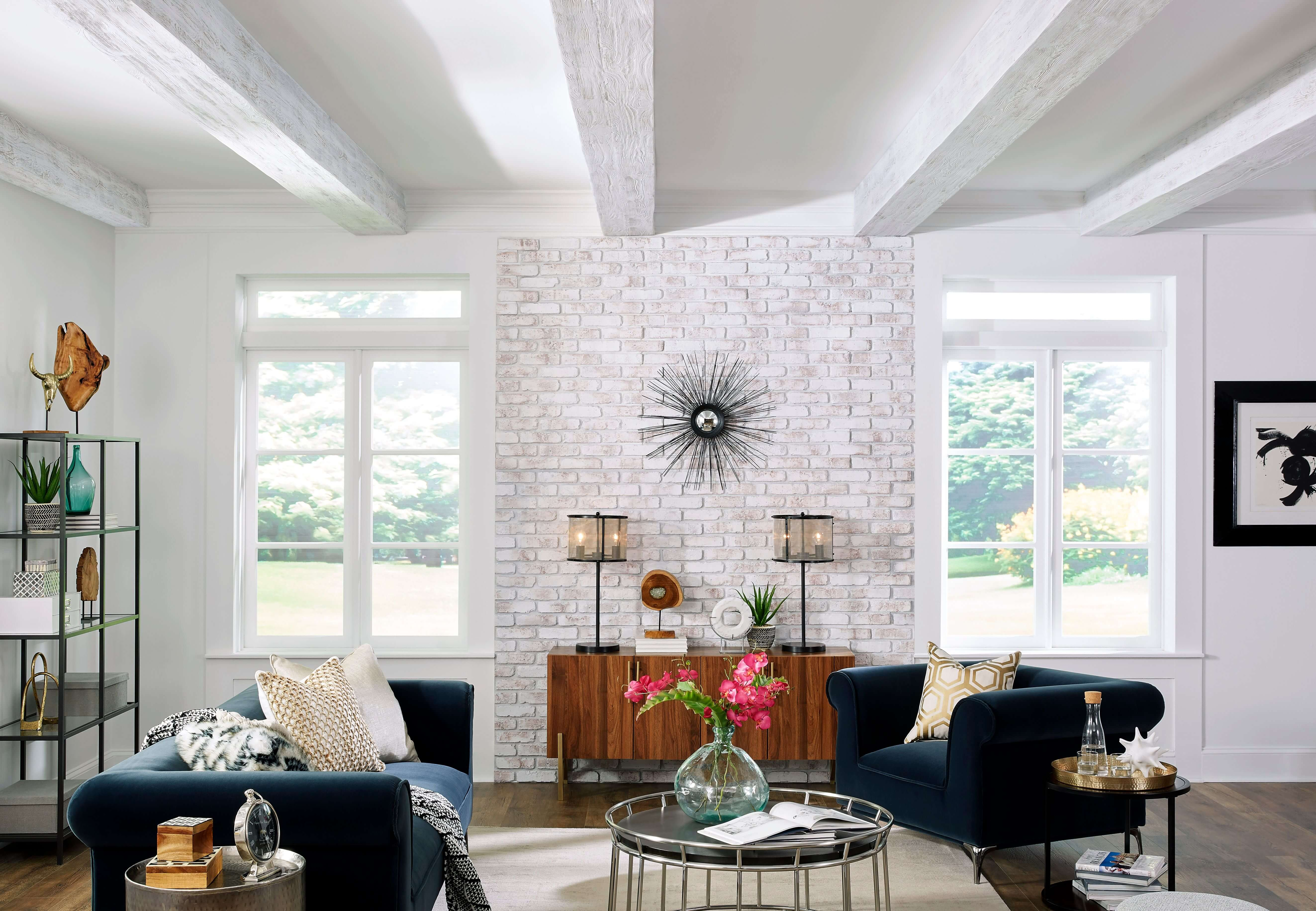 Barron Designs faux whitewashed brick wall panel and white faux wood ceiling beams