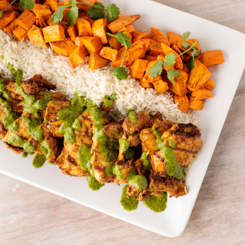 Grilled Curry Chicken with Coconut Rice