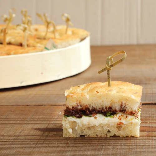 Fresh Ricotta and Fig-Olive Tapenade Focaccia Finger Sandwiches